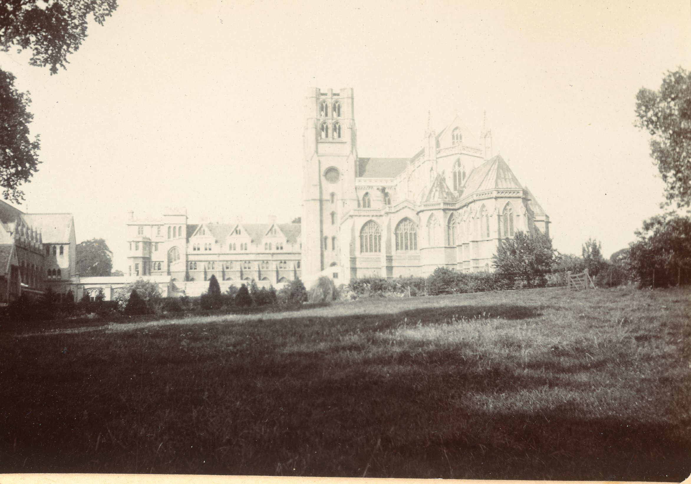 Old black and white photograph of Downside Abbey