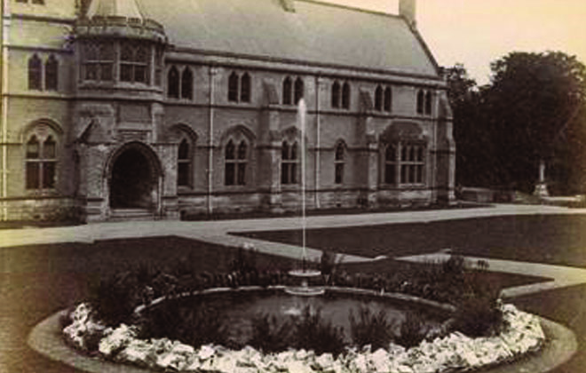 Old image of Downside Abbey and garden