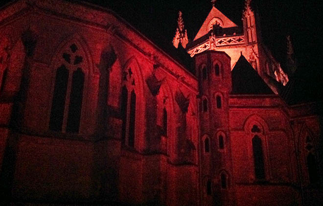 Abbey lit up for Red Wednesday