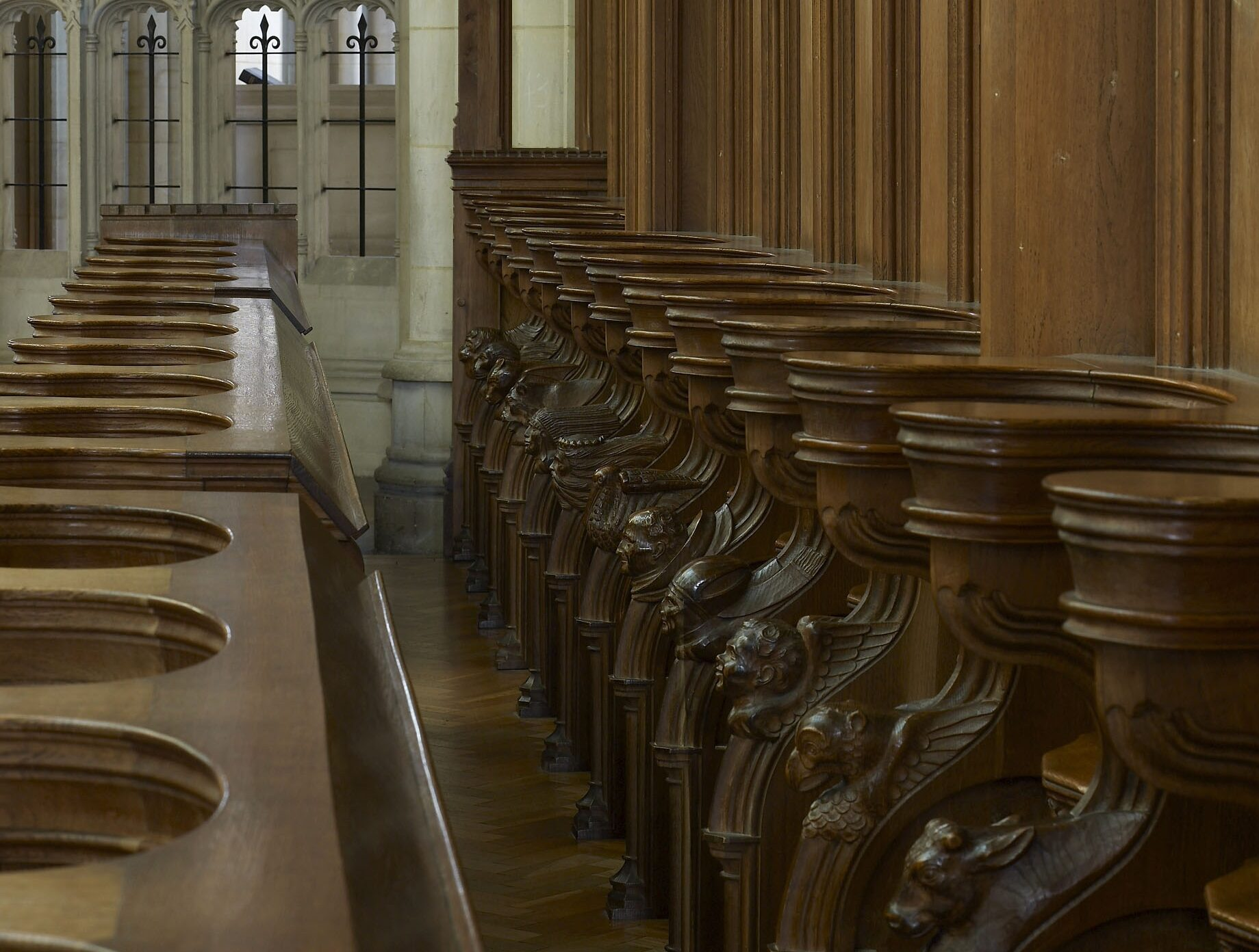 View looking down the choir pews