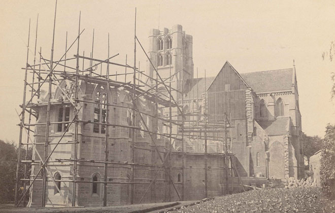 Old photo of the abbey being built