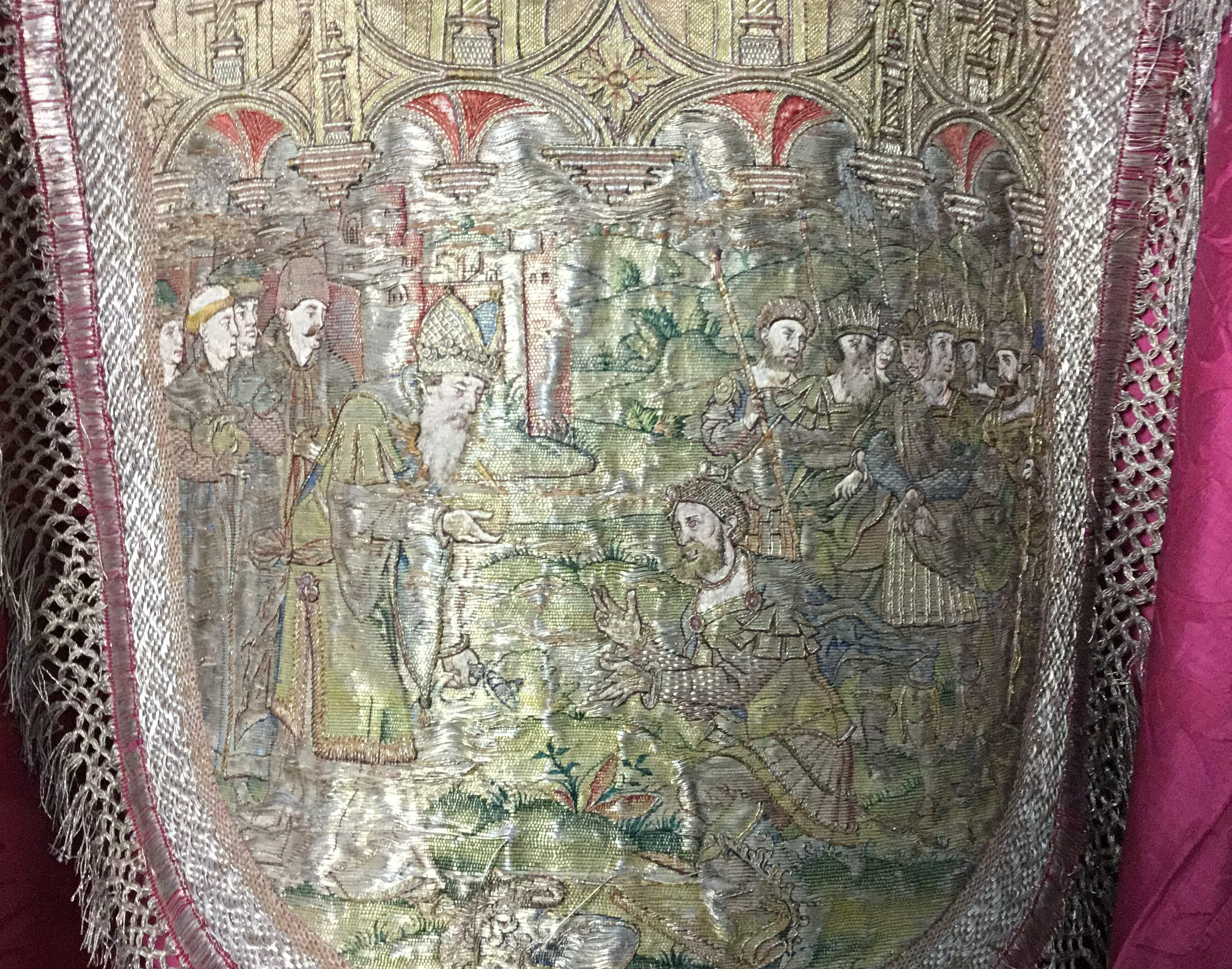 Embroidered religious scene