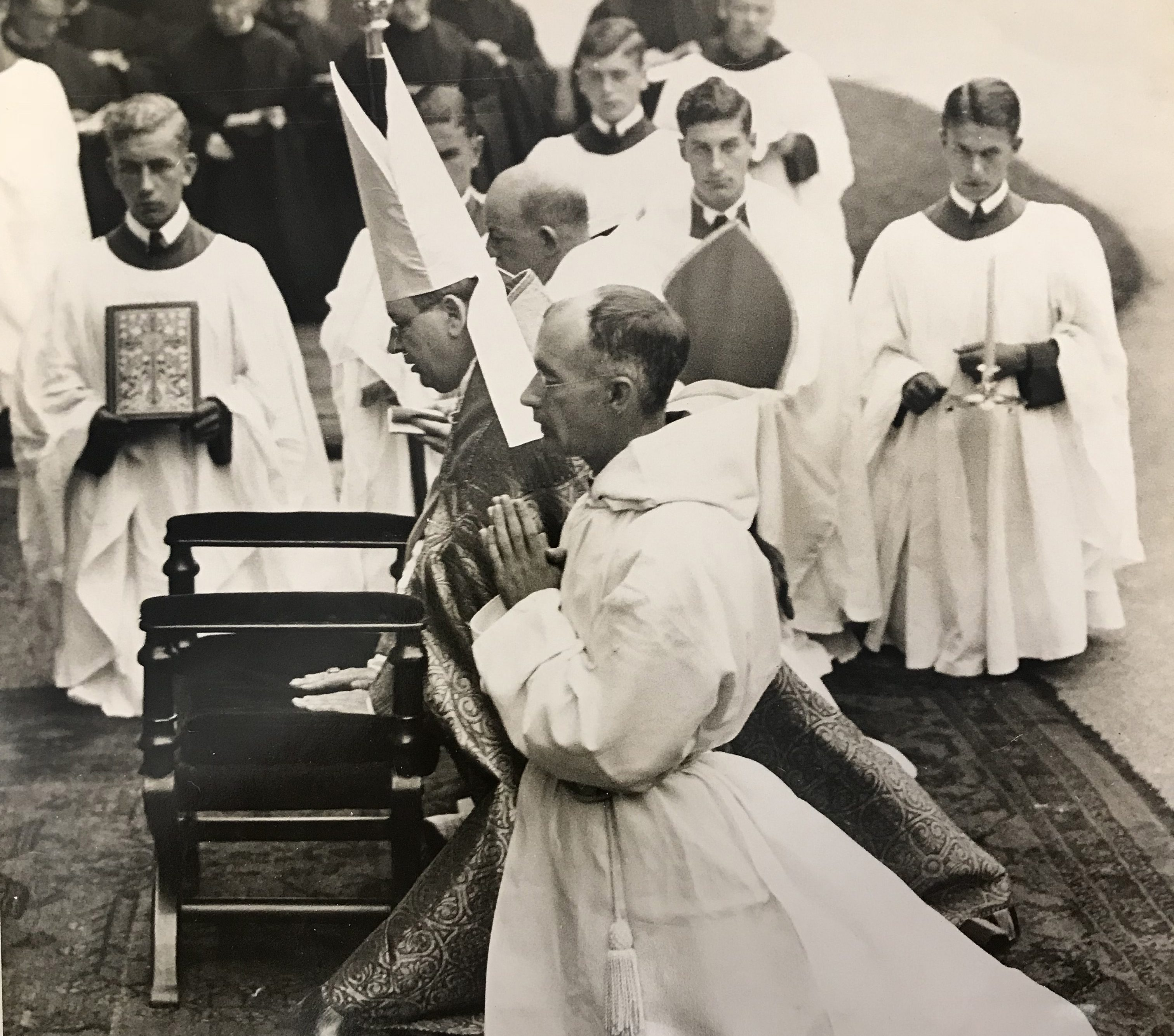 Old photo of priests and monks at Downside Abbey