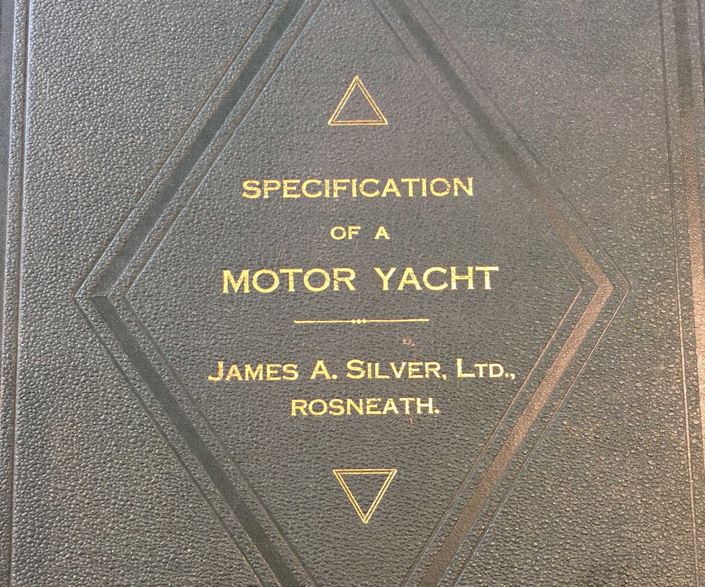 Book titled specification of a motor yacht by James A Silver Ltd.