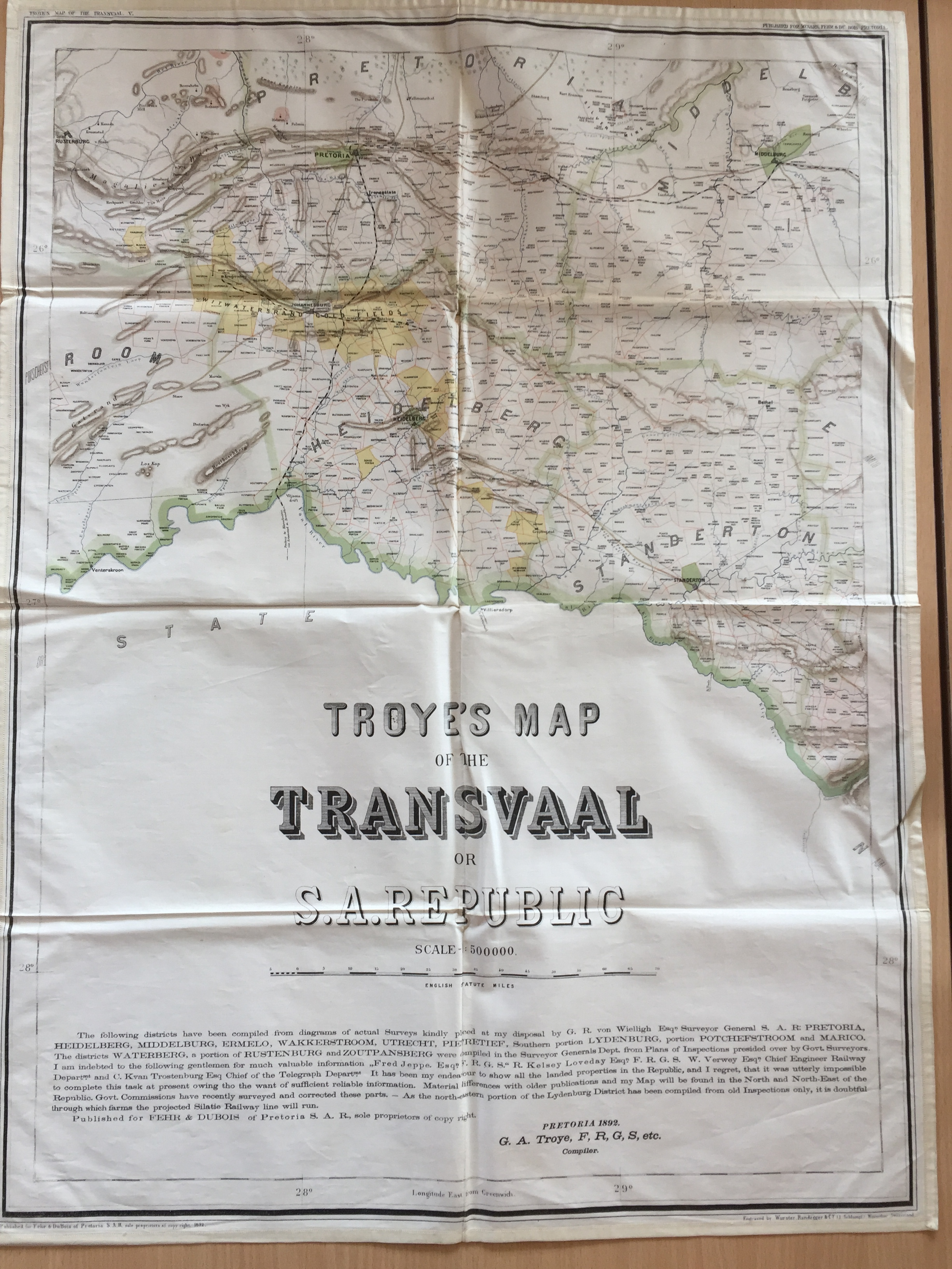 Old map of South African Republic
