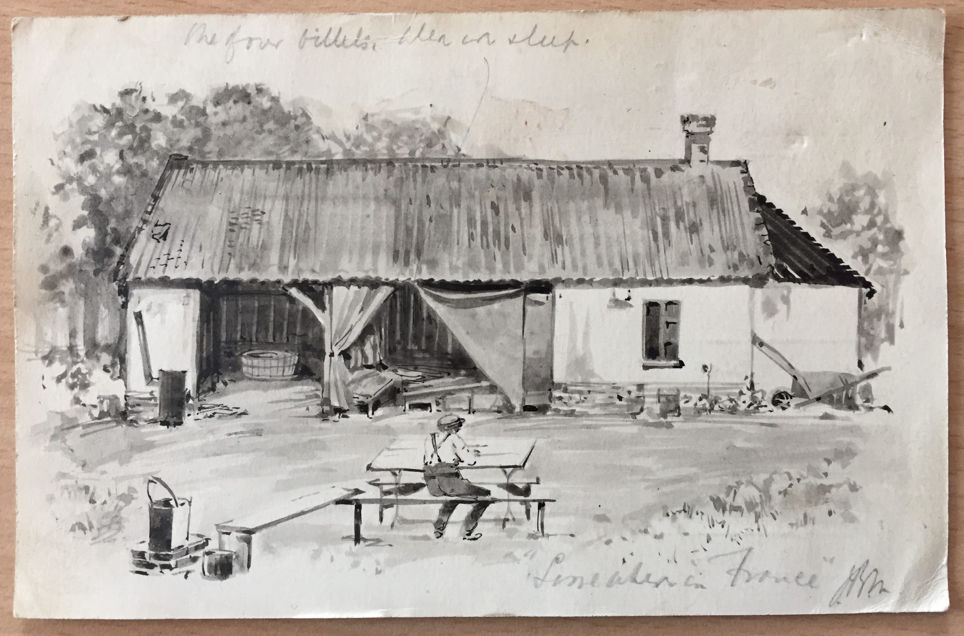 Watercolour of a barn from the great war