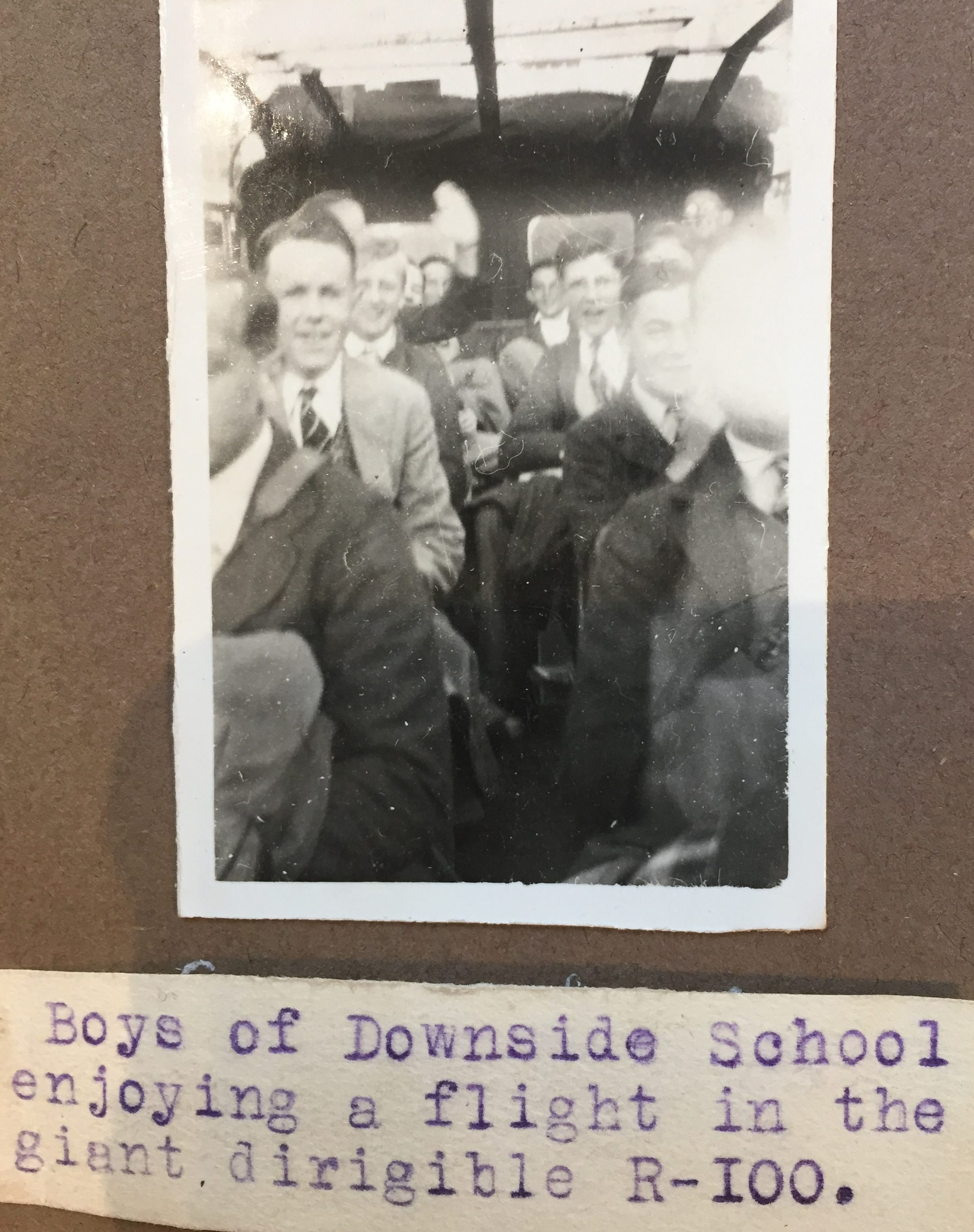 Old photo of boys at downside school enjoying a flight