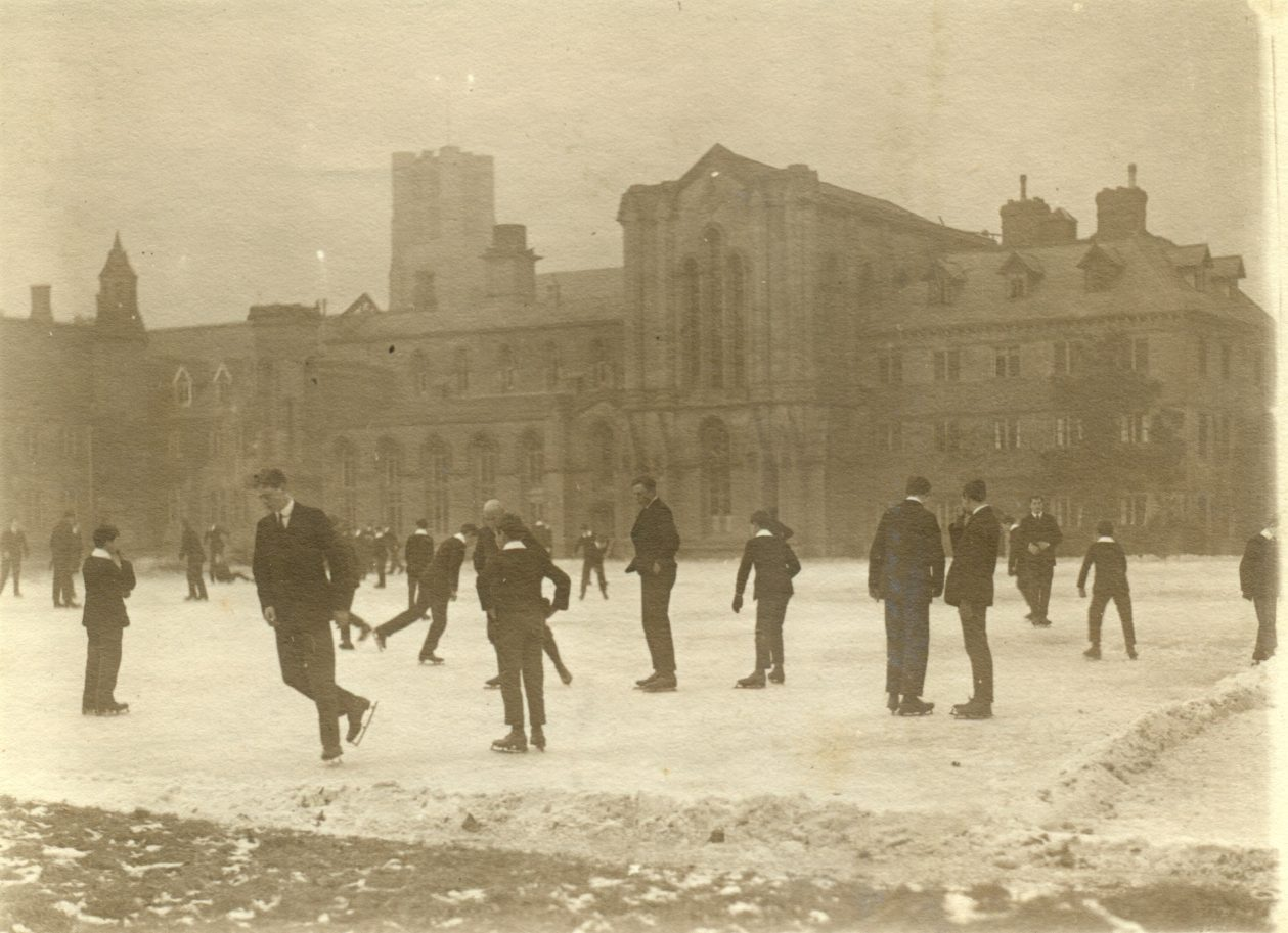 Old photograph of people ice skating