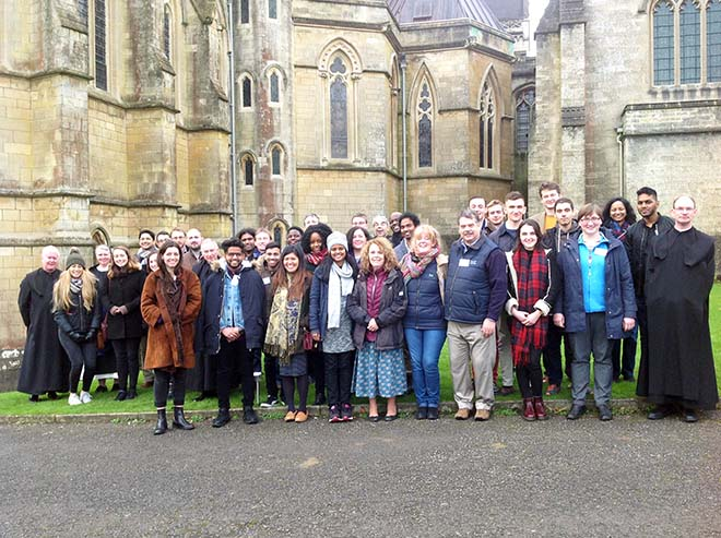 Group in front of downside abbey