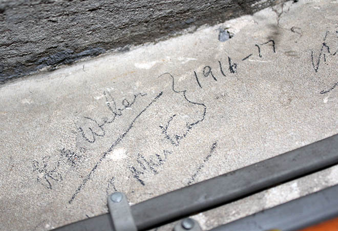 Pencil marks on stone behind the compton organ 1916