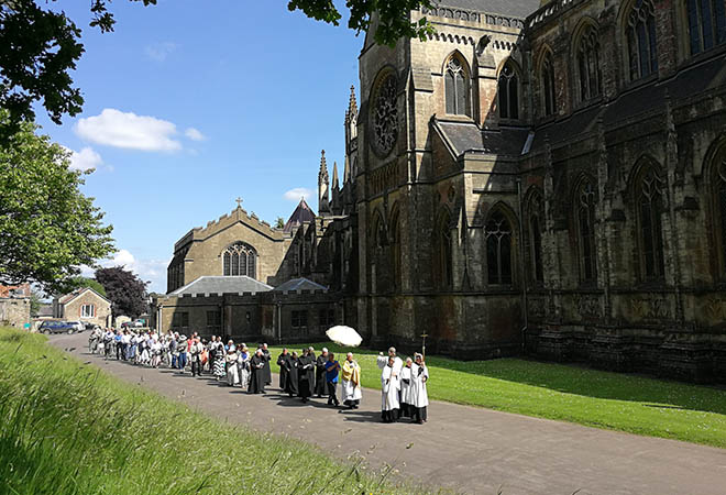 Corpus Christi procession outside abbey