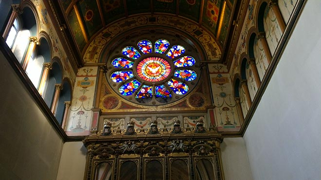 View of stained glass circle in monastery