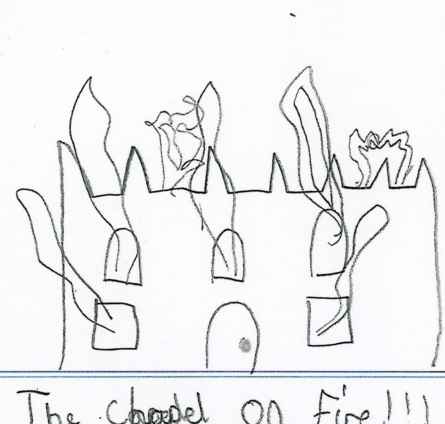 Childs drawing of a chapel on fire