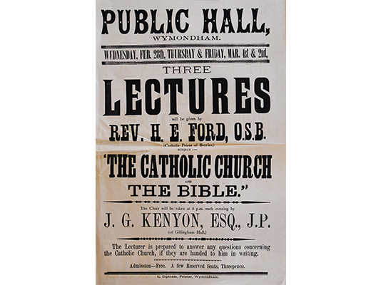 Public hall lectures old poster